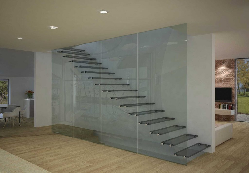 Straight staircase / glass steps / stainless steel / open